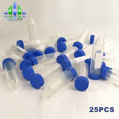 25pcs 50ml Sterile Conical Centrifuge Tubes Plastic Test Container Autoclavable
