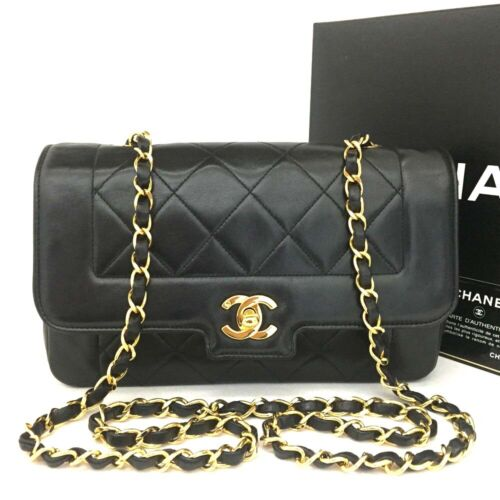 CHANEL Quilted Matelasse CC Logo Lambskin Chain Shoulder Bag Black /o459