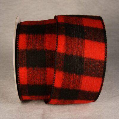 Plaid Christmas Ribbon (Red Black Buffalo Plaid Ribbon 5 Yards Christmas 2.5