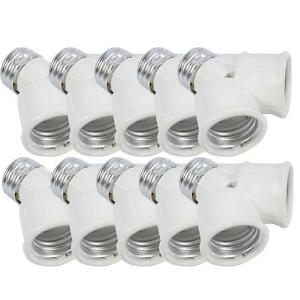 10Pcs E27 to 2x E27 Led CFL Light Lamp Bulb Adapter Converter Socket Splitter
