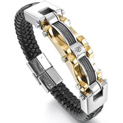 - Men's Stainless Steel Leather Braided Bracelet Cable Wire CZ Bangle Gold US Ship