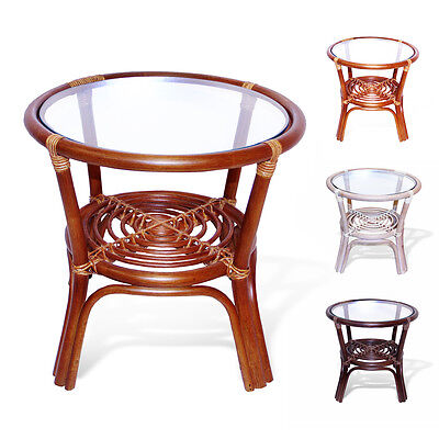 Leo Handmade Rattan Wicker Round End Coffee Table with Glass Top Glass Rattan End Table