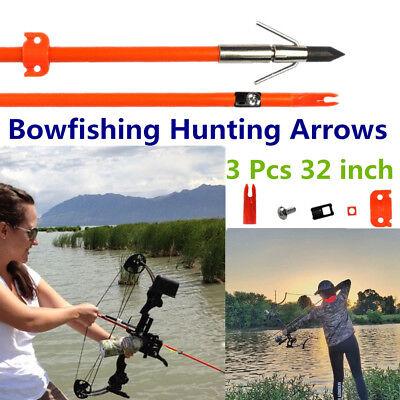 Archery Bowfishing Hunting Arrows Solid Fiberglass Safety Slides 3 Pcs 32 inch