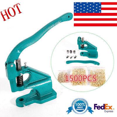 Us Grommet Machine 3 Die 14 38 12 1500 Grommets Eyelet Hand Press Tool Max