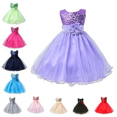 Flower Girl Kids Tutu Dress Sequins Princess Party Wedding Bridesmaid Tulle Gown - Girls Dresses Winter