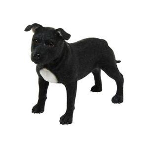 Black Staffordshire Bull Terrier Dog Staffy Staffie Ornament Figurine Gift Boxed