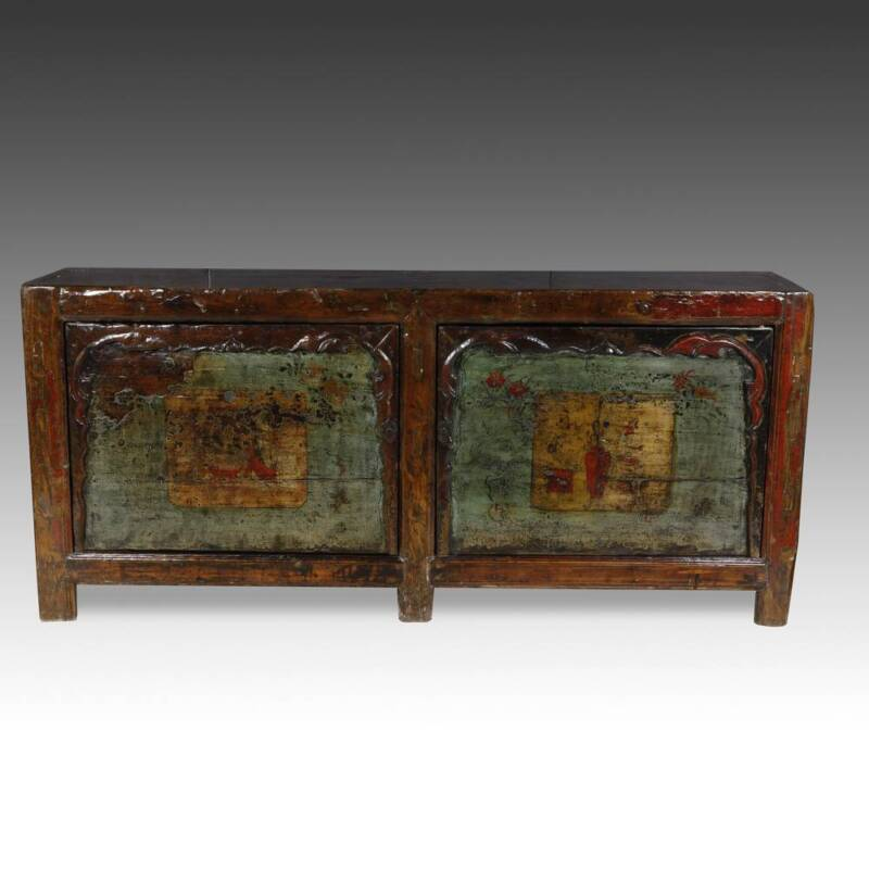 FINE ANTIQUE CHINESE GANSU LACQUERED AND PAINTED CABINET OR SIDEBOARD 19TH C