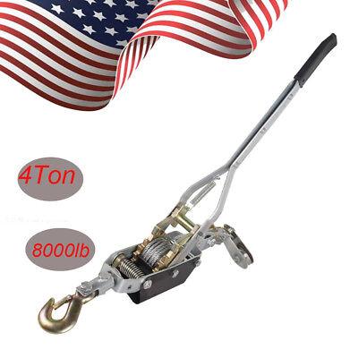 4 Ton 8000lb Come Along Hoist Ratcheting Cable Winch Puller Crane Comealong Ce
