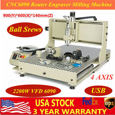 Usb 2.2kw 4 Axis 6090 Cnc Router Engraver Machine Milling Wood Steel 3d Cutter