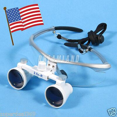 Usa Dental Optical Binocular 3.5x Loupes Glasses For Led Head Light Lamp Silver
