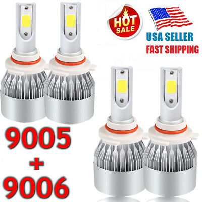 (4PCS 9005 9006 LED Total 2500W Combo Headlight Kit Bulbs 6000K White Hi-Lo Beam)