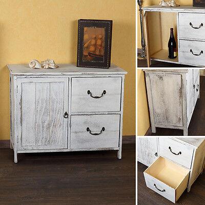 Shabby Kommode Schrank Regal Sideboard Küchenschrank Holz Vintagestil weiß NEU
