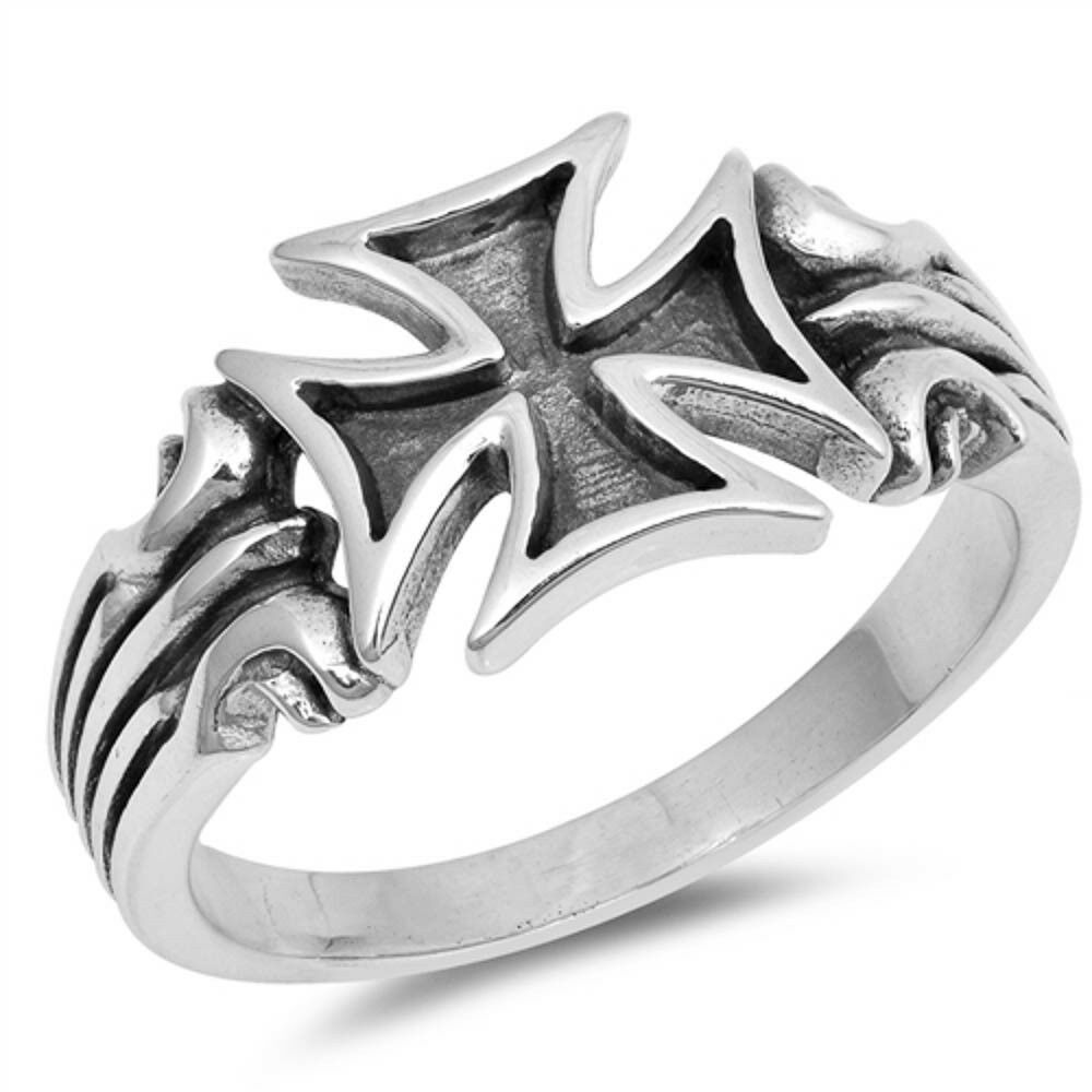 Unique Biker Men Cross Celtic .925 Sterling Silver Ring Size
