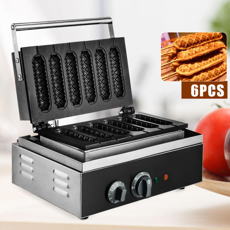 Electric Waffle Maker Commercial 6PCS Stick French Hot Dog Sausage Maker 1500W