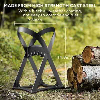 Seesii Cast Iron Double Handles Durable Wood Splitter for Campsite Fireplace Use
