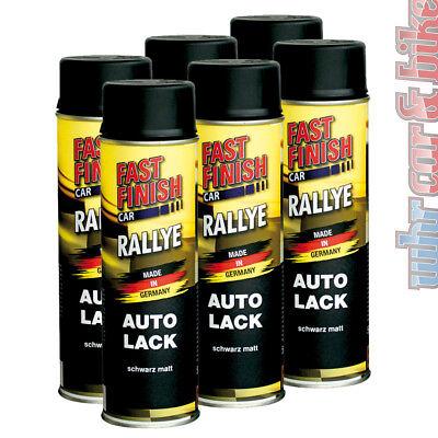 6x 500ml Fast Finish 292828 Rallye Lack Autolack Spraydose schwarz matt