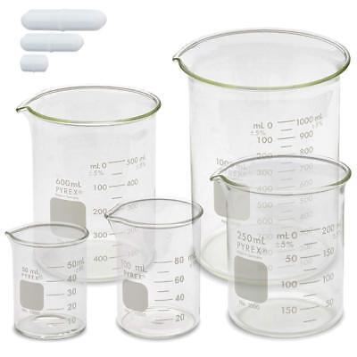 Corning Pyrex 1000 Griffin Low Form Glass Beaker Set W Magnetic Stir Bar Set