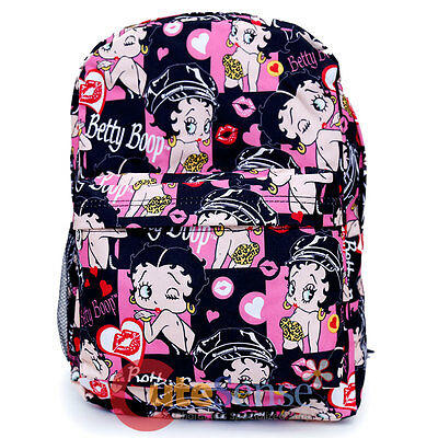 "Betty Boop School Backpack All Over Print 16"" Large Book Bag Lovely Kiss"