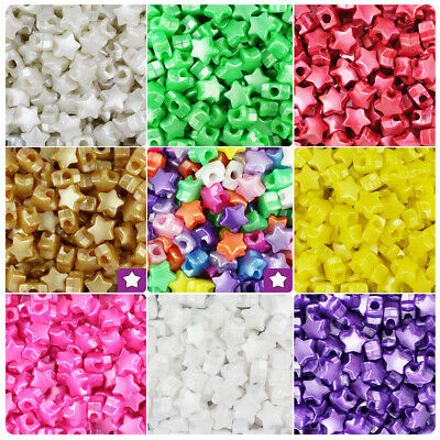BeadTin Pearl 13mm Star Pony Beads (250pcs) - Color choice](Plastic Star Beads)