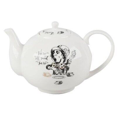 Teekanne ALICE IN WONDERLAND für 1100ml schwarz weiß Porzellan Creative Tops