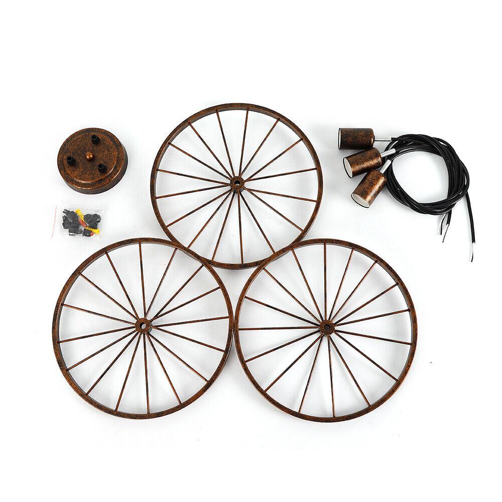 Vintage Bronze Wagon Wheel 3 Light Pendant Fixture