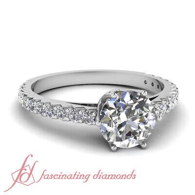 1.35 Ct Round Ideal Cut H-Color Diamond Mount Rim Engagement Ring Pave Set GIA 1