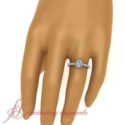 1.35 Ct Round Ideal Cut H-Color Diamond Mount Rim Engagement Ring Pave Set GIA 4