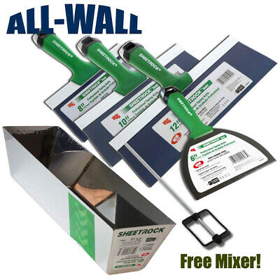 Usg Sheetrock Pro Series Taping Knife Set 6-8-10-12 W12 Mud Pan Free Mixer