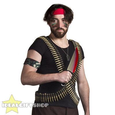 1980'S ACTION HERO FANCY DRESS SET BULLET BELTS - Action Hero Kostüme