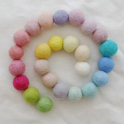 100% Wool Felt Balls - 2cm - 25 Count - Assorted Light, Pale, Pastel Colours