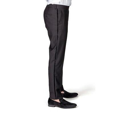 Men's Tailored Slim Fit Black Side VELVET Tuxedo Pants Dress Slacks By Azar - Tailored Dress Pants