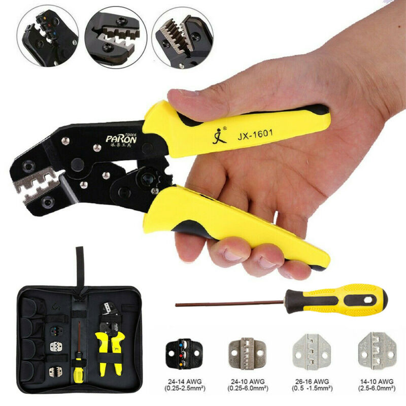 Pro Insulated Cable Connectors Terminal Ratchet Crimping Tool Wire Plier Kit Set