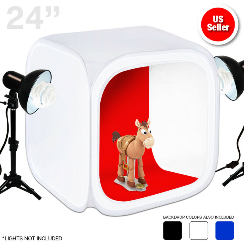 "Photo Studio Photography Light Tent Backdrop Kit Cube 24""/60cm Lighting In A Box"