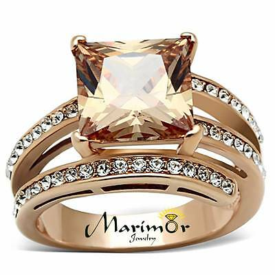 - 6.85 CT PRINCESS CUT CHAMPAGNE ZIRCONIA ROSE GOLD PLATED COCKTAIL RING SIZE 5-10