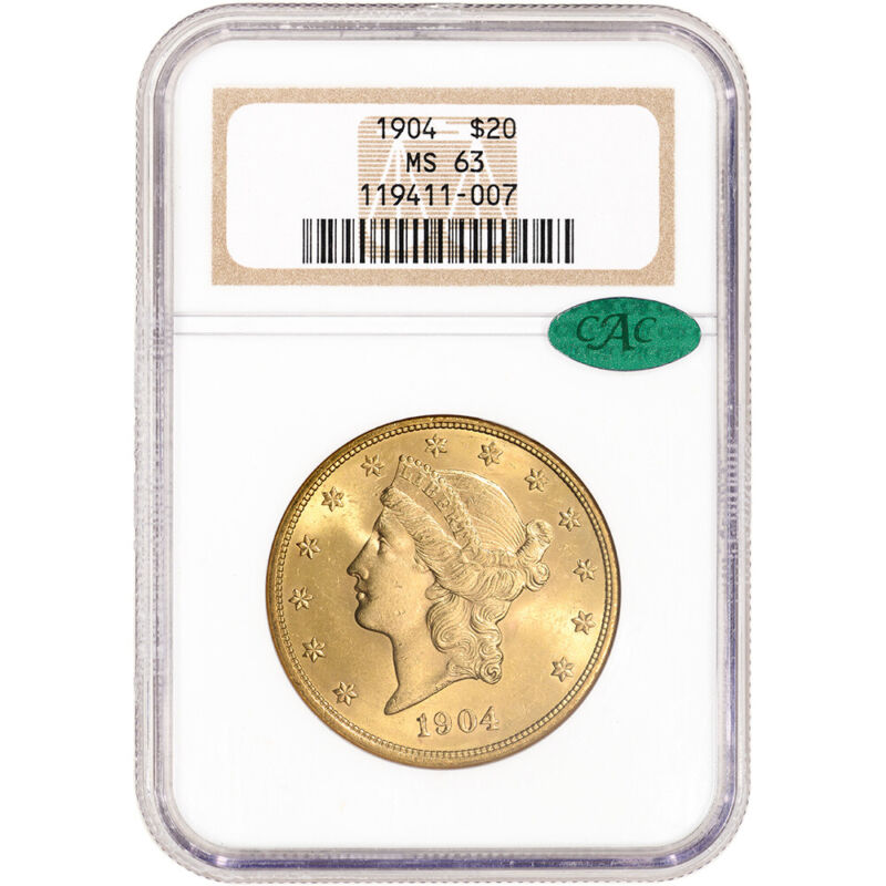 1904 US Gold $20 Liberty Head Double Eagle - NGC MS63 CAC Verified