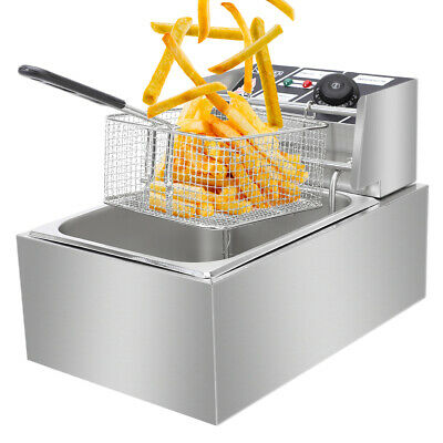 2500w 6l Commercial Electric Deep Fryer Restaurant Stainless Steel 6.3qt New