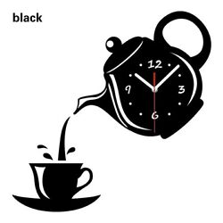 Black Wall Clock Coffee Cup Shaped Decorative Kitchen Wall Clocks Living Room