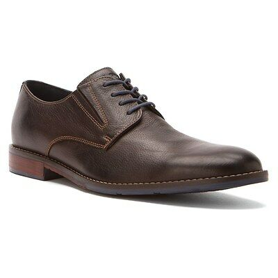 Men's Hush Puppies Style Oxford Plain Toe Dress Shoe Dark Brown Leather H103746 Puppies Plain Leather