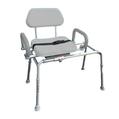 CAROUSEL Sliding Transfer Bench Swivel Seat, Padded Bath Shower Chair Pivot Arms