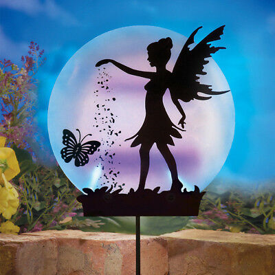 Garden Solar Fairy Stake Outdoor Lighted Metal Decoration Yard Ornaments Wings