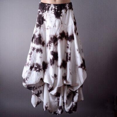 White Brown Tie Dye Steampunk Womens Summer Full Length Bubble Long Maxi Skirt L