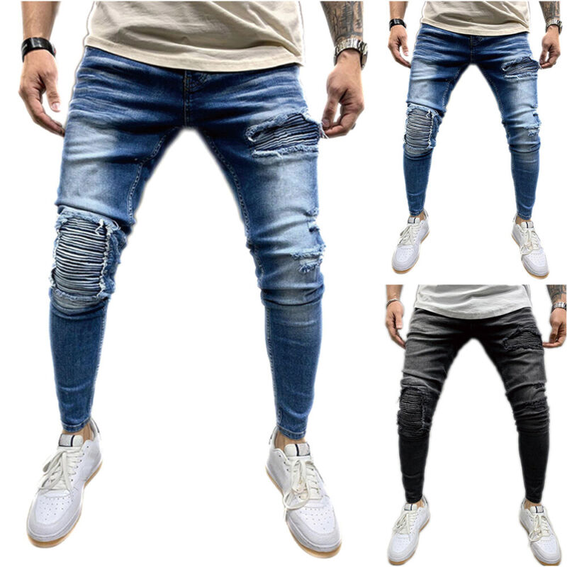 Men Ripped Frayed Jeans Skinny Trousers Distressed Denim Pants Casual Bottoms Clothing, Shoes & Accessories