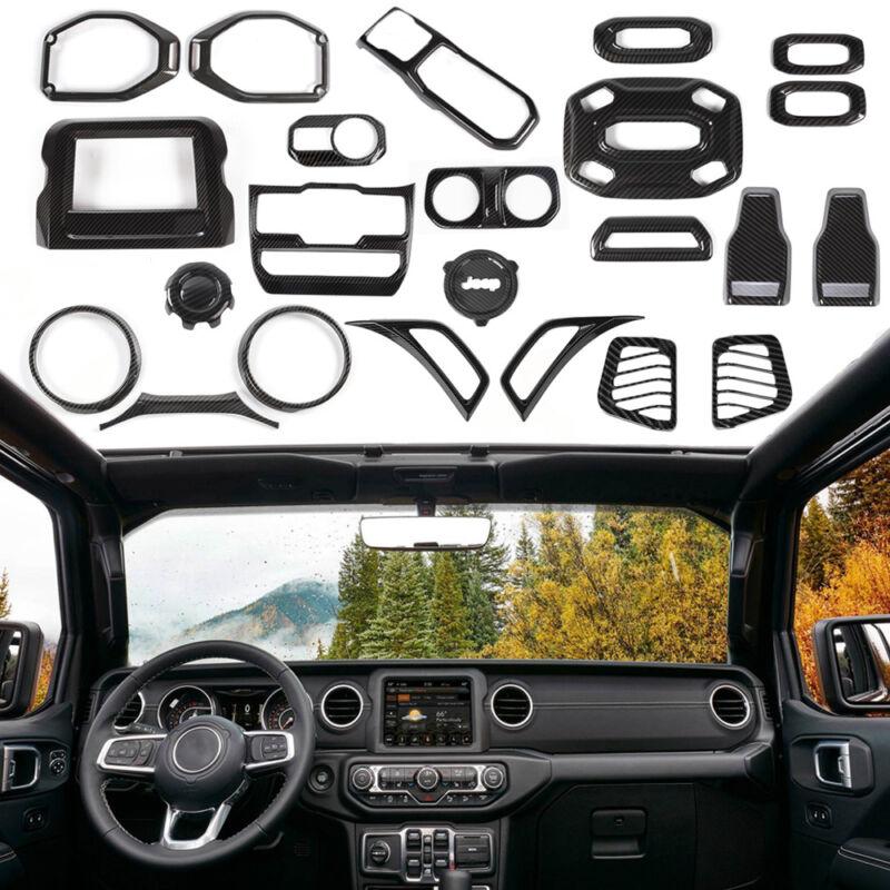 For 2018 Jeep Wrangler JL Interior Trim Accessories Cover Kit Carbon Fiber 24Pcs