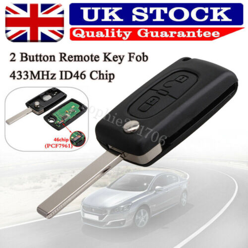 Car Parts - 2 Button Replace Remote Key Loking Fob 433MHz ID46 Chip for Peugeot 207 307 308