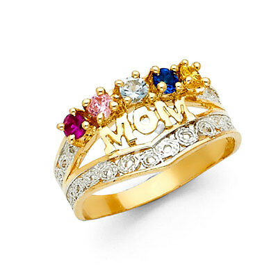 Ladies 14k Yellow White Real Gold CZ Gem Birthstone Mothers Day Mom Ring -