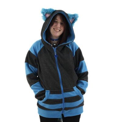 PAWSTAR Cheshire Cat Kitty Hoodie - Jacket Blue Gray Halloween Costume [ALT]6135 - Cheshire Cat Blue Costume