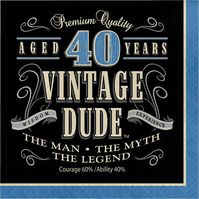 16 x Vintage Dude 40th Napkins Mens Birthday Tableware Supplies Adult Party 40 (40th Birthday Party Supplies)