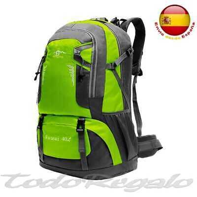Mochila 40L 40 Litros Impermeable para Senderismo Montaña Militar Verde Claro