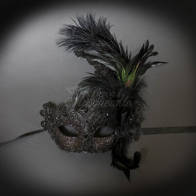 Womens Brocade Lace Ostrich Feather Venetian Masquerade Mask [Black]