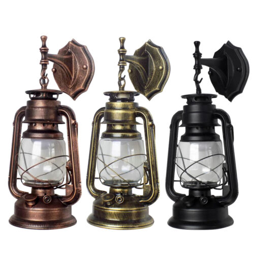 Retro Antique Vintage Rustic Lantern Lamp Wall Sconce Light Garden Yard Outdoor